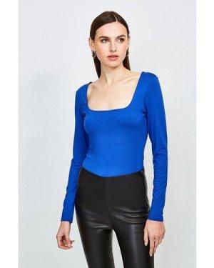 Karen Millen Viscose Jersey Long Sleeve Square Neck Body -, Blue