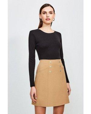 Karen Millen Essential Cotton Long Sleeved Crew Top -, Black