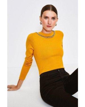 Karen Millen Mono Chain Neck Knitted Top -, Gold
