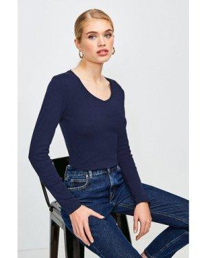 Karen Millen Essential Cotton Long Sleeved V Neck Top -, Navy
