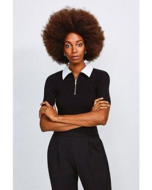 Karen Millen Zip Front Collared Knitted Top -, Blackwhite