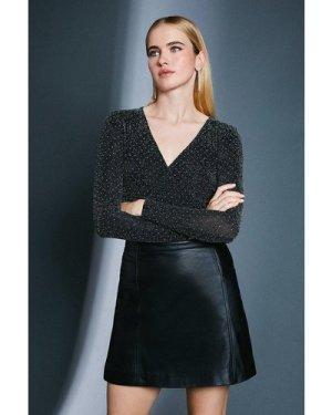 Karen Millen Stud Glitter Wrap Jersey Top -, Black