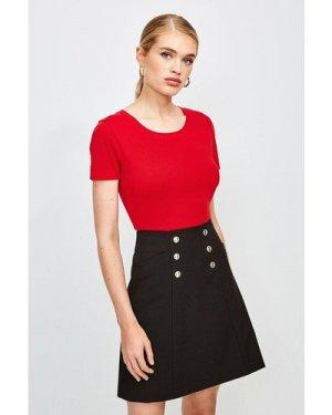 Karen Millen Essential Cotton Short Sleeved Crew Top -, Orange