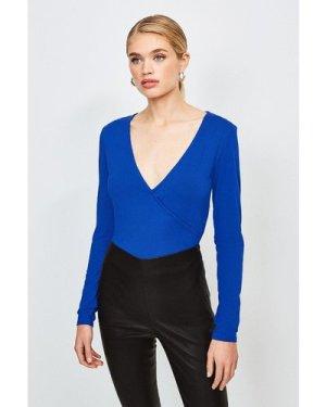 Karen Millen Long Sleeve Wrap Viscose Jersey Top -, Blue