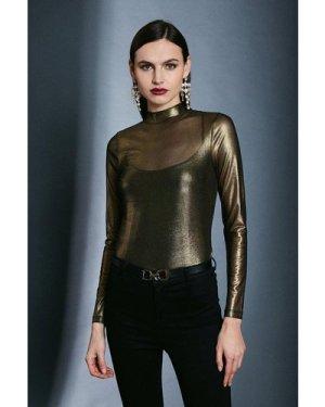 Karen Millen Foiled Mesh Funnel Jersey Top -, Gold