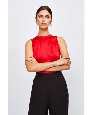 Karen Millen Silk Satin Sleeveless Shell Top -, Red