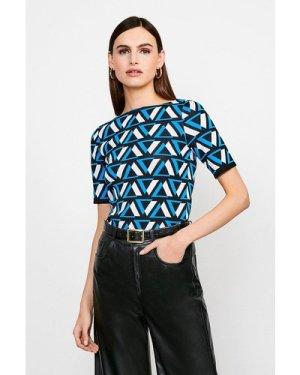Karen Millen Abstract Knitted Top -, Blue