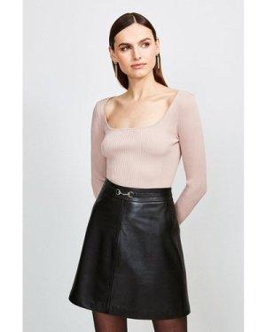 Karen Millen Long Sleeve Knitted Rib Square Neck Top -, Pink