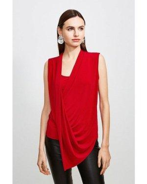Karen Millen Drape Front Wrap Jersey Top -, Red