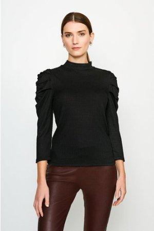 Karen Millen Tucked Shoulder Rib Jersey Top -, Black