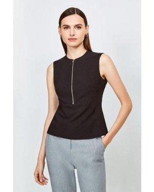 Karen Millen Zip Front Sharp Seam Top -, Black