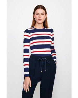 Karen Millen Stripe Rib Knitted Jumper -, Red