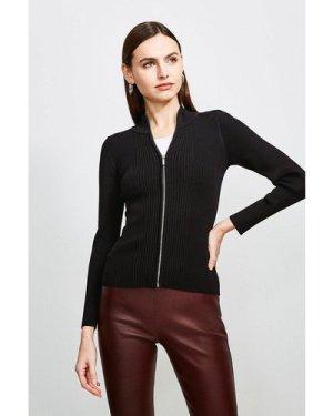 Karen Millen Funnel Neck Knitted Rib Zip Through Cardigan -, Black