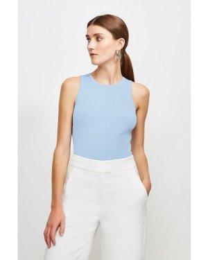 Karen Millen Knitted Rib Crew Neck Vest Top -, Mid Blue