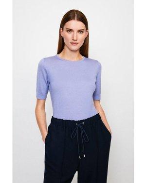 Karen Millen Merino Wool Short Sleeve Crew Neck Jumper -, Blue
