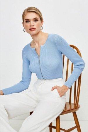 Karen Millen Knitted Rib Zip Though Cardigan -, Mid Blue