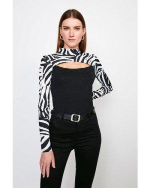 Karen Millen Zebra Cut Out Long Sleeve Jersey Top -, Black