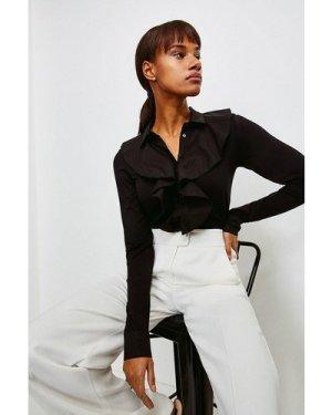 Karen Millen Ruffle Woven Viscose Jersey Elastane Shirt -, Black
