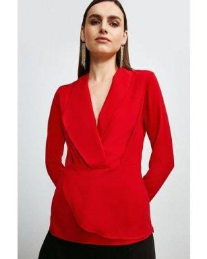 Karen Millen Drape Long Sleeve Top -, Red