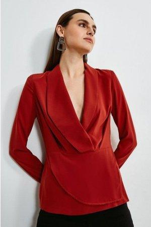 Karen Millen Drape Long Sleeve Top -, Orange
