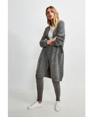 Karen Millen Super Soft And Cosy Longline Cardigan -, Grey Marl