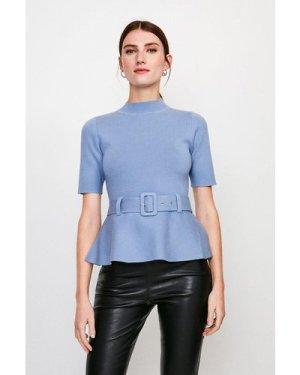 Karen Millen Knit Peplum Belted Top -, Mid Blue