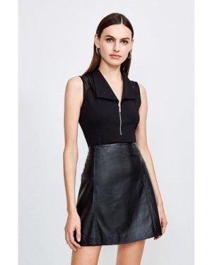 Karen Millen Mesh Shoulder Zip Through Ponte Top -, Black