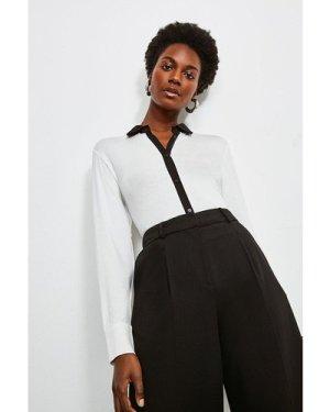 Karen Millen Woven Viscose Jersey Elastane Shirt -, Ivory