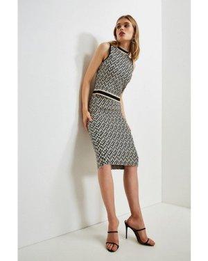 Karen Millen Jacquard Knitted vest Top -, Black