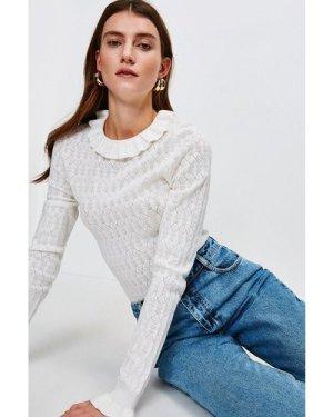 Karen Millen Frill Collar Pointelle Knit Jumper -, Ivory