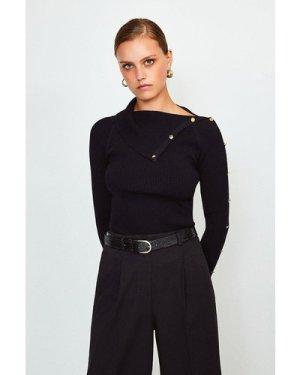 Karen Millen Button Detail Envelope Neck Knitted Jumper -, Black