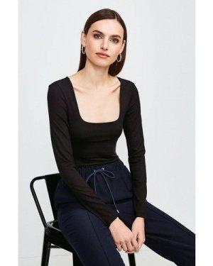 Karen Millen Viscose Jersey Long Sleeve Square Neck Body -, Black