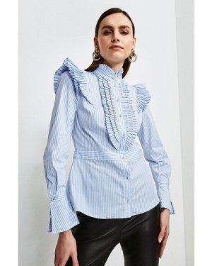 Karen Millen Pleat Ruffle Stripe Shirt -, Blue