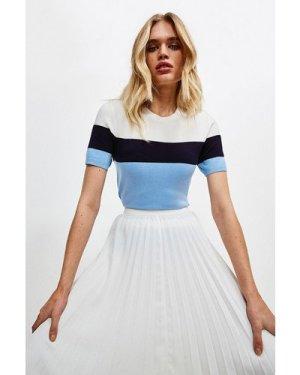 Karen Millen Colour Block Knitted Top -, Blue
