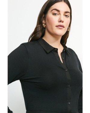 Karen Millen Curve Woven Viscose Jersey Elastane Shirt -, Black