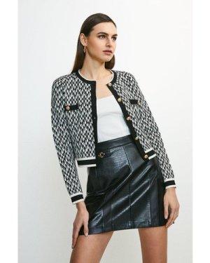Karen Millen Graphic Jacquard Knit Jacket -, Blackwhite