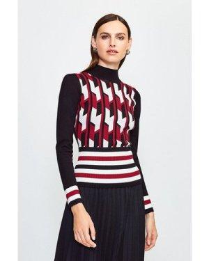 Karen Millen Geo Stripe Knit Jumper -, Red
