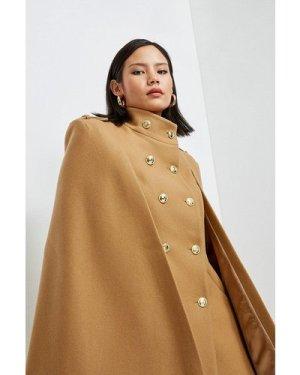 Karen Millen Italian Wool Blend Military Cape -, Camel