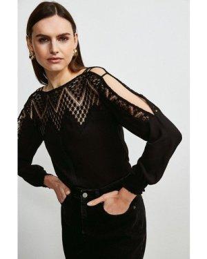 Karen Millen Cold Shoulder Diamond Lace Top -, Black