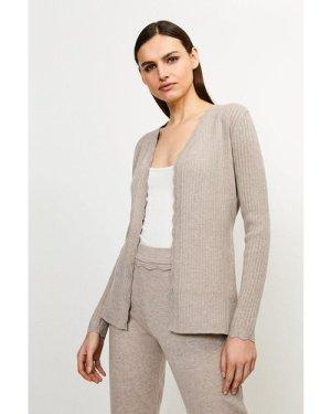 Karen Millen Rib Knit Corset Cardigan - Taupe, Brown