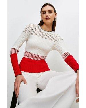 Karen Millen Pointelle detail Colour Block Knit Jumper -, Red