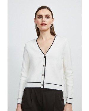 Karen Millen Lace Back Knit Cardigan -, Ivory