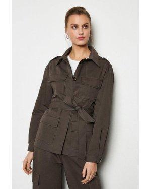Karen Millen Utility Jacket -, Khaki/Green