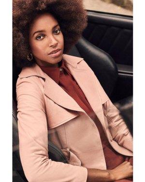 Karen Millen Leather Trench Coat -, Orange