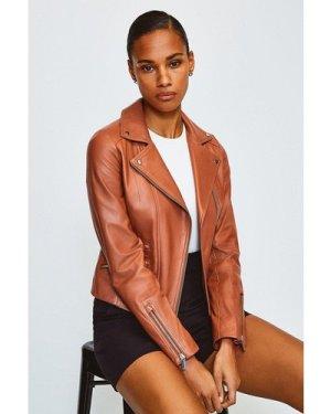 Karen Millen Leather Signature Biker Jacket -, Light Brown