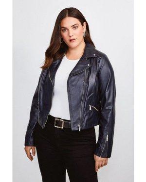 Karen Millen Curve Leather Signature Biker Jacket -, Navy