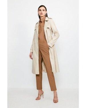 Karen Millen Faux Leather Trench Coat -, Cream