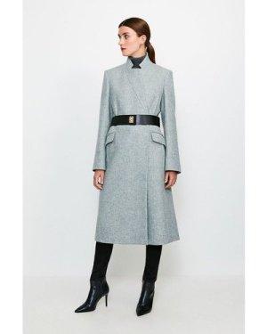 Karen Millen Hardware Belted Wool Coat -, Grey