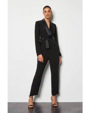 Karen Millen Tuxedo Wrap Jumpsuit -, Black