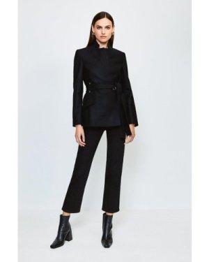 Karen Millen Notch Neck Wool Blend Short Coat -, Black